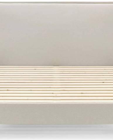 Béžová dvoulůžková postel Bobochic Paris Sary Dark, 180 x 200 cm