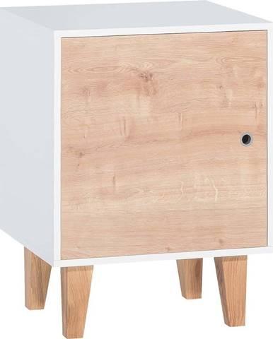 Bílá skříňka s dřevěnými dvířky Vox Concept
