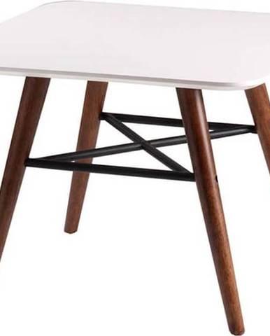 Bílý odkládací stolek s tmavě hnědým podnožím sømcasa Andy