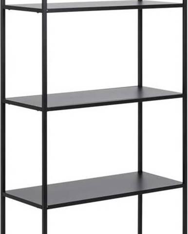 Černá kovová knihovna se 4 policemi Actona Newcastle, šířka 69,5 cm