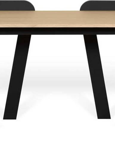 Černý pracovní stůl s deskou v dekoru dubu TemaHome