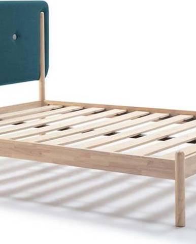 Dřevěná postel s tyrkysově modrým čelem Marckeric Annie,140x190cm