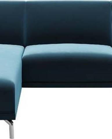 Modrá sametová rohová pohovka MESONICA Puzzo, levý roh