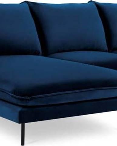 Modrá sametová rohová pohovka Cosmopolitan Design Vienna, levý roh