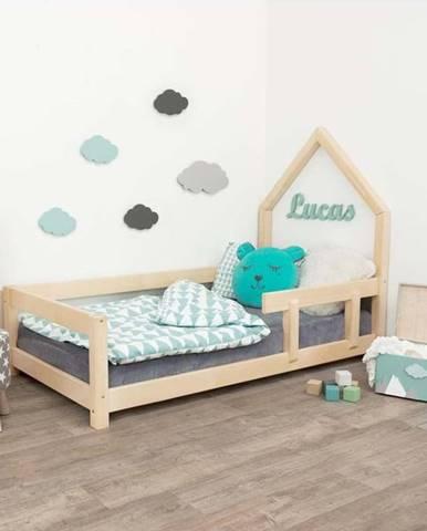 Přírodní dětská postel domeček s pravou bočnicí Benlemi Lucky, 80 x 180 cm