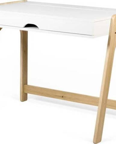 Psací stůl v dekoru dubového dřeva s bílou deskou TemaHome Aura