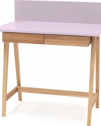 Růžový psací stůl s podnožím z jasanového dřeva Ragaba Luka,délka85cm