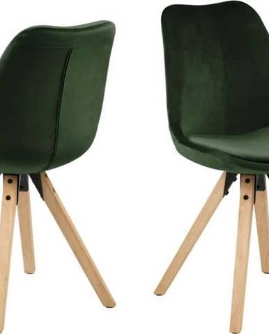 Sada 2 khaki zelených jídelních židlí Actona Dima Velvet