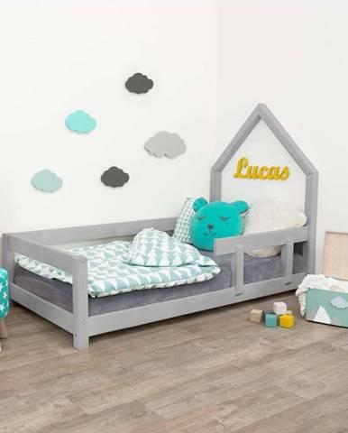Šedá dětská postel domeček s pravou bočnicí Benlemi Poppi, 120 x 200 cm
