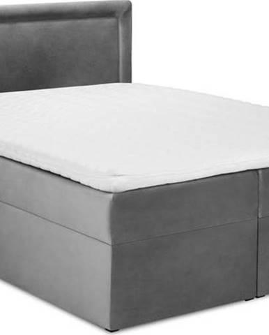 Šedá sametová dvoulůžková postel Mazzini Beds Yucca,200x200cm