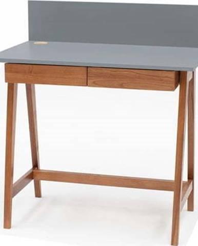 Šedý psací stůl s podnožím z jasanového dřeva Ragaba Luka Oak, délka 85 cm