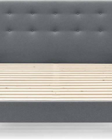 Tmavě šedá dvoulůžková postel Bobochic Paris Rory Light, 160 x 200 cm
