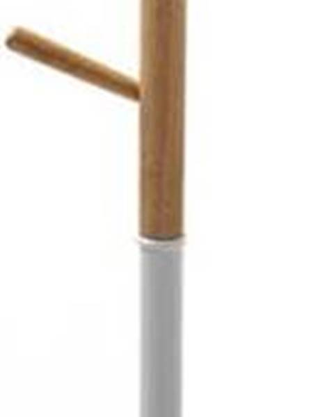VERSA Bílý věšák s dřevěnými prvky VERSA Clothes, výška 180 cm