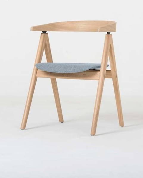 Gazzda Jídelní židle z masivního dubového dřeva s modrošedým sedákem Gazzda Ava