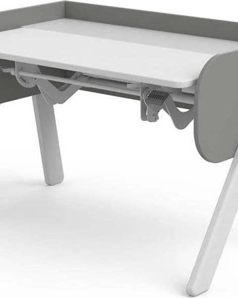 Flexa Šedo-bílý psací stůl z borovicového dřeva s nastavitelnou výškou Flexa Woody