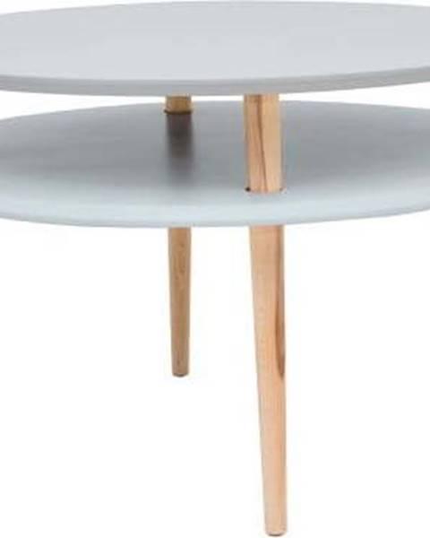 Ragaba Světle šedý konferenční stolek s přírodními nohami Ragaba UFO, Ø70cm