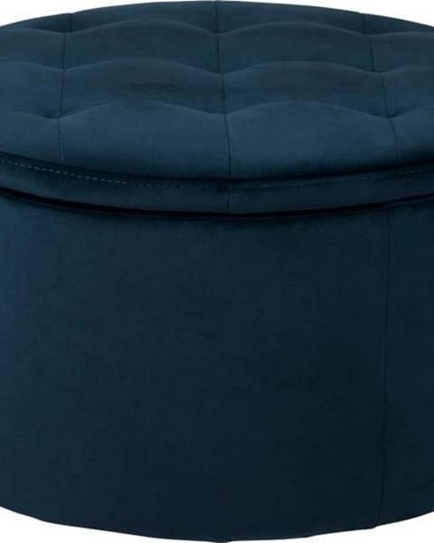 Actona Tmavě modrý sametový puf Actona Retina, ⌀ 60 cm
