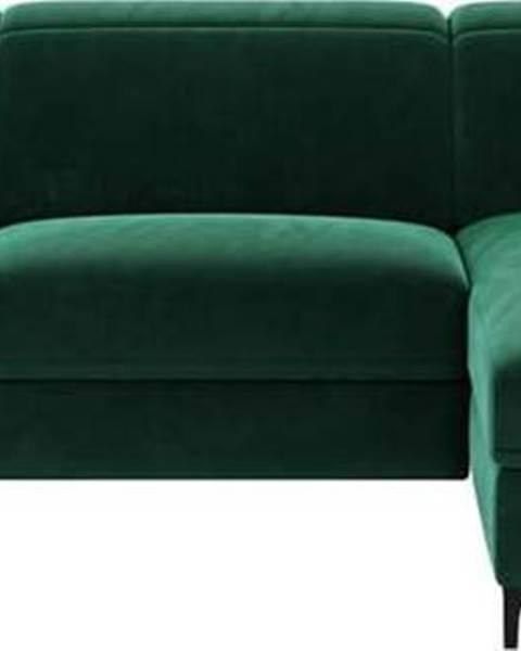 MESONICA Tmavě zelená sametová polohovací rohová pohovka Mesonica Brito, pravý roh