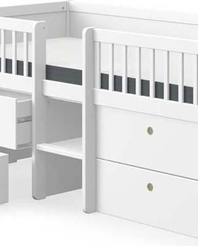 Bílá dětská postel z borovicového dřeva se zásuvkami Flexa