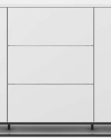 Bílá komoda s bílou deskou se 3 šuplíky, 2 dveřmi a černými nohami TemaHome Join
