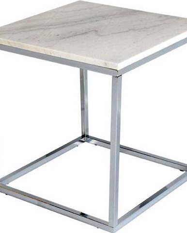 Bílý mramorový odkládací stolek s chromovaným podnožím RGE Accent, šířka50cm