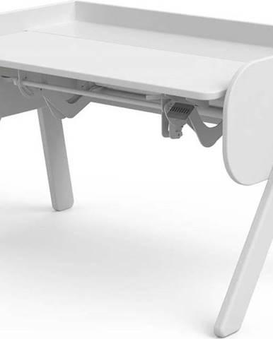 Bílý psací stůl z borovicového dřeva s nastavitelnou výškou Flexa Woody