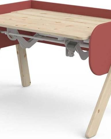 Červeno-hnědý psací stůl z borovicového dřeva s nastavitelnou výškou Flexa Woody