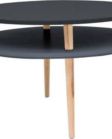 Grafitově šedý konferenční stolek s přírodními nohami Ragaba UFO, Ø70cm