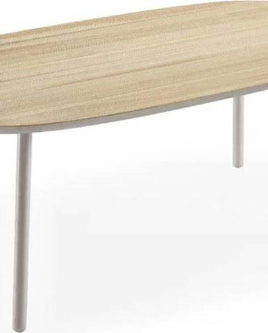 Jídelní stůl z jasanového dřeva s šedými nohami EMKO Naïve, 180x90cm