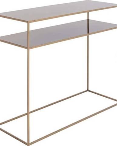 Konzolový kovový stůl ve zlaté barvě s policí Custom Form Tensio, 100 x 35 cm