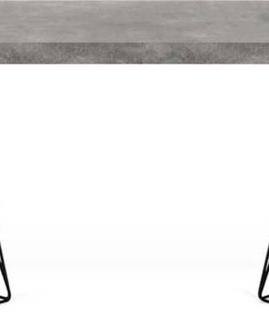 Pracovní stůl v dekoru betonu s černým podnožím TemaHome Multi, 160 x 90 cm