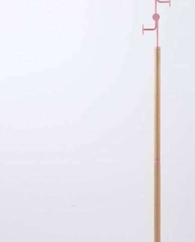 Stojací věšák z masivního dubového dřeva s růžovým detailem Gazzda Hook