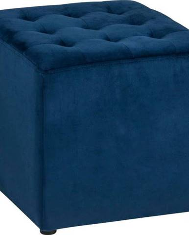 Tmavě modrý sametový puf Actona Bryan