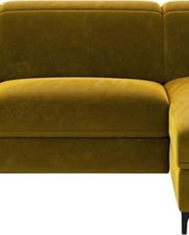 Žlutá sametová polohovací rohová pohovka Mesonica Brito, pravý roh