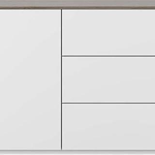 Bílá komoda s deskou v dekoru ořechového dřeva se 3 šuplíky a 3 policemi TemaHome Join