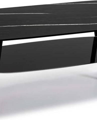 Černý konferenční stolek se skleněnou deskou v mramorovém dekoru Marckeric Alina