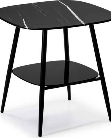 Černý odkládací stolek se skleněnou deskou v mramorovém dekoru Marckeric Alina