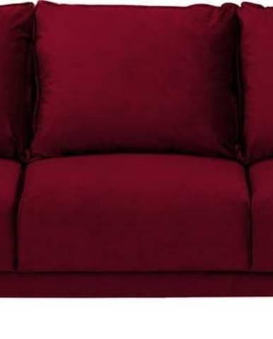 Červená sametová rozkládací pohovka s úložným prostorem Mazzini Sofas Freesia, 215 cm