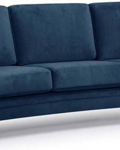 Tmavě modrá sametová pohovka Scandic Eden, 237 cm