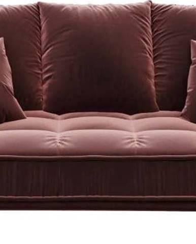 Tmavě růžová sametová pohovka Devichy Chloe, 204 cm