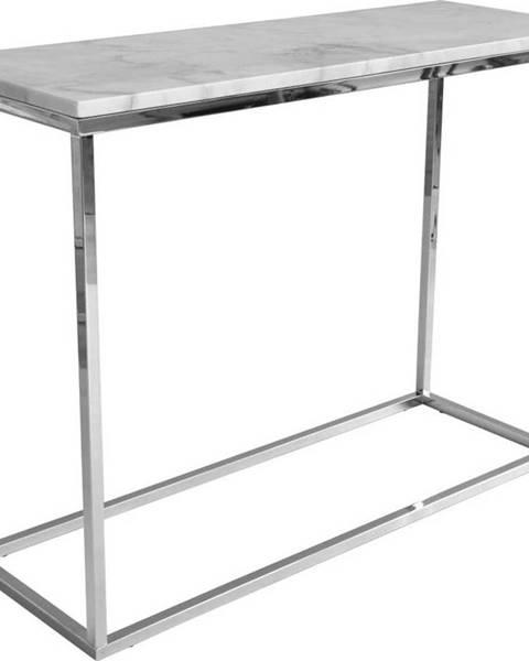 RGE Bílý mramorový konzolový stolek s chromovaným podnožím RGE Accent, šířka100cm