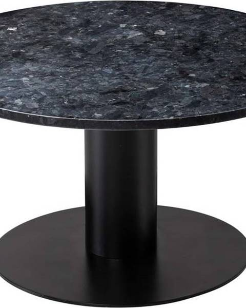 RGE Černý žulový konferenční stolek s podnožím v černé barvě RGE Pepo, ⌀ 85 cm
