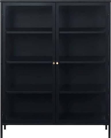 Černá vitrína Unique Furniture Carmel,výška140cm