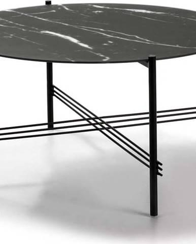 Černý konferenční stolek se skleněnou deskou v mramorovém dekoru Marckeric,ø84cm
