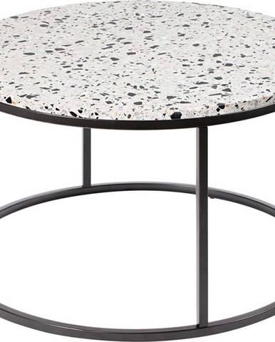 Konferenční stolek s kamennou deskou RGE Bianco, ø 85 cm