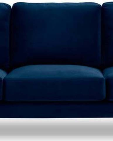 Námořnicky modrá sametová pohovka Kooko Home Harmony, 220 cm