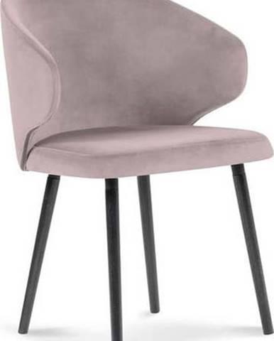 Půdrově růžová jídelní židle se sametovým potahem Windsor & Co Sofas Nemesis