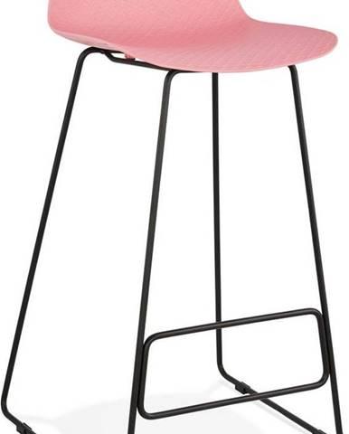 Růžová barová židle s černými nohami Kokoon Slade, výškasedu76cm