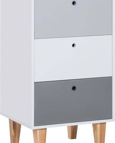 Šedá komoda s policemi z dubového dřeva Vox Concept, 53,5 x 96,5 cm