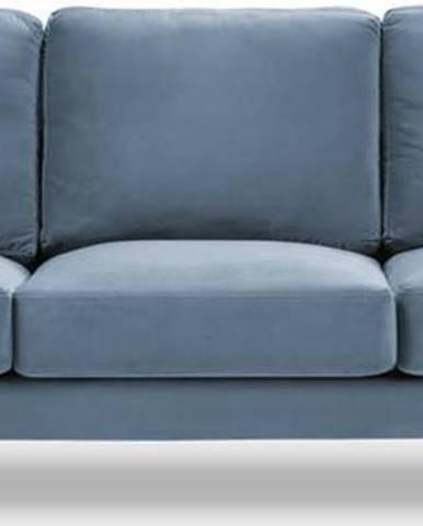 Světle modrá sametová pohovka Kooko Home Harmony, 220 cm